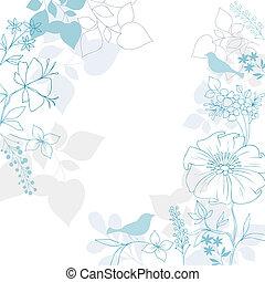 floral, elegant, vogel, achtergrond