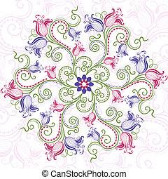 floral, frame, ronde, kleurrijke
