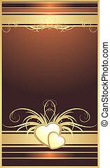 floral, gouden, ornament, hartjes