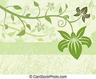 floral, groene achtergrond