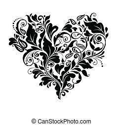 floral, hart, black