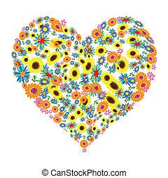 floral, hart gedaante, ontwerp