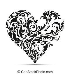 floral, heart., abstract concept, liefde