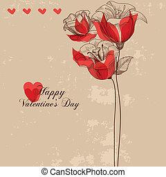 floral, kaart, begroetende kaart, valentine