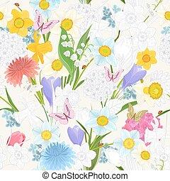 floral, malen, vermalen, ontwerp, seamless, textuur