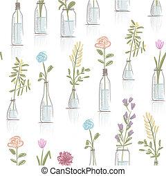 floral model, ontwerp, potten, seamless