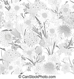 floral, monochroom, ontwerp, seamless, textuur