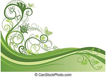 floral ontwerpen, 1, grens, groene