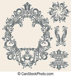 floral, ouderwetse , frame, ontwerp