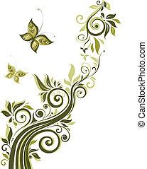 floral, ouderwetse , ontwerp