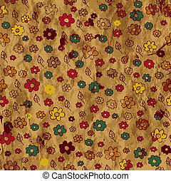 floral, papier, grunge, achtergrond, textuur
