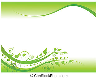 floral rand, groene, illustratie