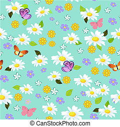 floral, seamless, textuur, madeliefjes