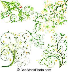floral, set, communie, vector