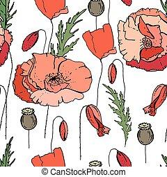 floral, textuur, model, poppies., seamless, ontwerp, eindeloos