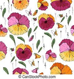 floral, textuur, model, violas., seamless, ontwerp, eindeloos
