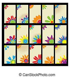 floral, vastgesteld ontwerp, kaarten, zakelijk