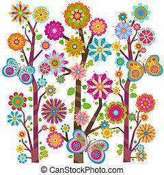floral, vlinder, boompje