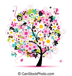 floral, zomer, ontwerp, boompje, jouw