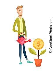 flower., geld, watering, jonge, zakenman, kaukasisch