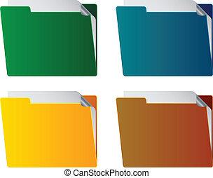 folders, vector, blad, papier