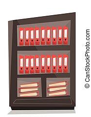 folders, vector, illustration., kantoor, planken