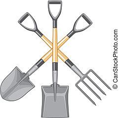 forked, spade, schop