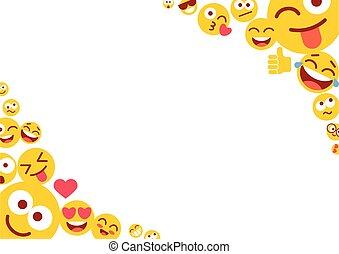 foto, lege ruimte, frame, text., lege, smileys, emoticons, gekke