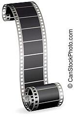 foto, verdraaid, illustratie, rol, vector, video, achtergrond, strook, witte , of, film