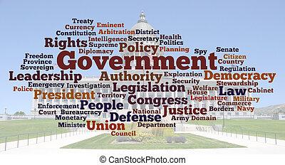 foto, woord, wolk, regering