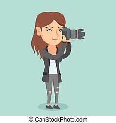 fotograaf, boeiend, photo., jonge, kaukasisch