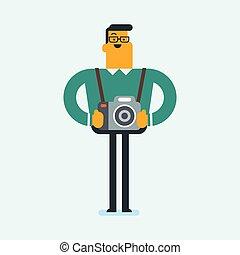 fotograaf, cameras., kaukasisch, jonge, foto