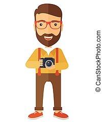 fotograaf, zijn, fototoestel, vasthouden