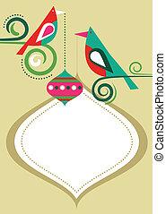 frame, kerstmis, vogels