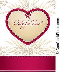 frame, ontwerp, kaart, mal, valentine