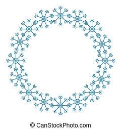 frame, snowflakes, vrijstaand, pictogram, circulaire