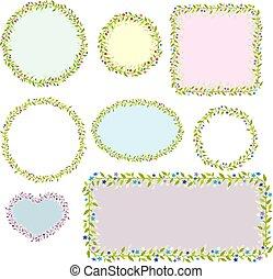 frames., verzameling, vector, acht, floral, images.