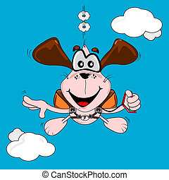 freefall, dog, spotprent, parachuting