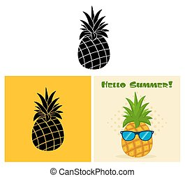 fruit., set, verzameling, ananas