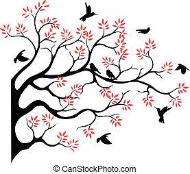 fying, boompje, silhouette, vogel