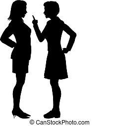 gaan niet akkoord, argument, vechten, schreeuwen, praatje, vrouwen