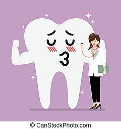 galant, vasthouden, arts, controleren, op, tand, stethoscope, vrouwlijk