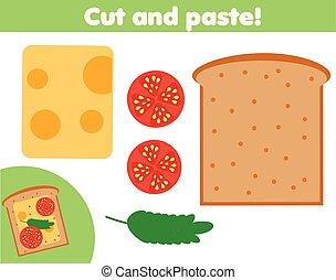 game., maken, snijden document, onderwijs, lijm, sanwich, schaar, kinderen, creatief, activity.
