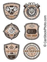 garage, auto, vector, dienst, iconen