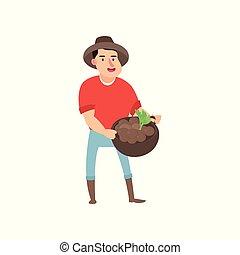 garden., plat, set, landbouwers, oogst, s, ontwerp, illustratie, vector., farmer
