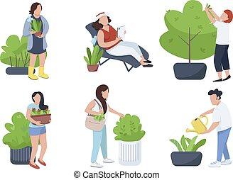 garneersel, botanist, illustraties, watering, karakters, set., witte , plat, planten, struik, gardeners, vector, spotprent, care, kleur, bloem, mensen, vrijstaand, bed, anoniem, groen, achtergrond