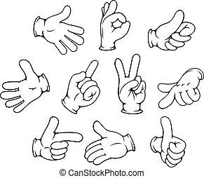 gebaren, set, spotprent, hand