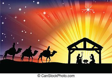 geboorte, christen, de scène van kerstmis