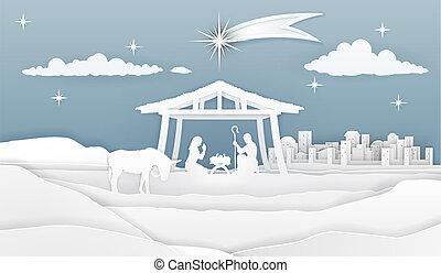 geboorte, papier, de scène van kerstmis