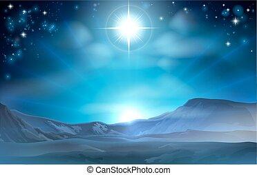 geboorte, ster, kerstmis, bethlehem